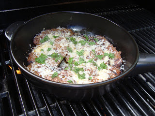 Italian Sausage with Cheese in 10 inch skillet on the Grill