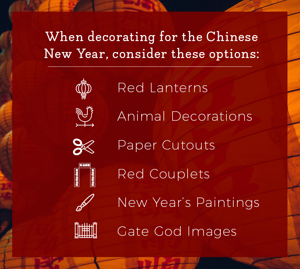 When decorating for the Chinese New Year, consider these options.