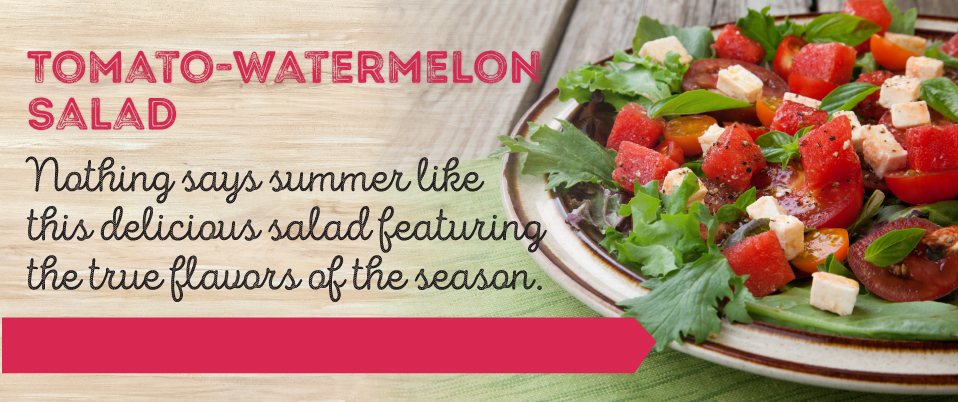 Dish of tomato watermelon salad for sweet and savory taste during summer barbeque